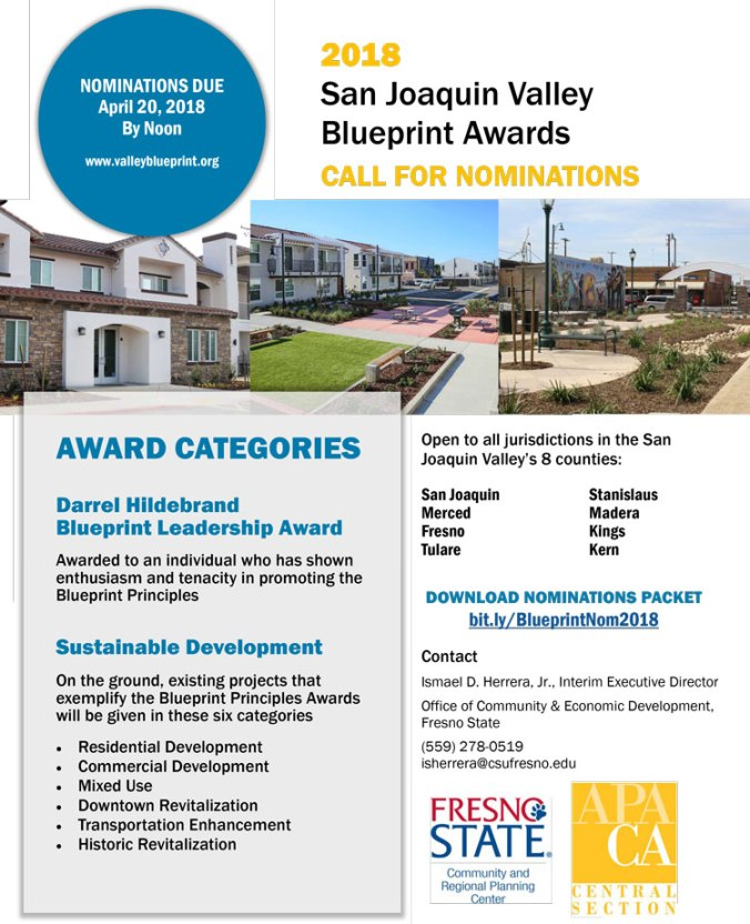 Call for nominations for the 2018 san joaquin valley blueprint bluepirnt malvernweather Choice Image